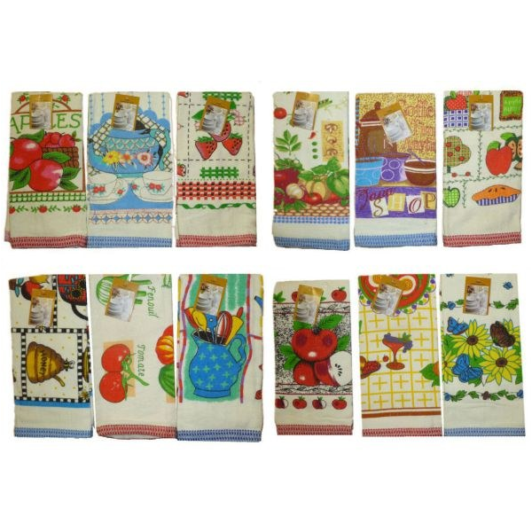 Wholesale Velour Printed Terry Kitchen Tea Towels 2 Pack