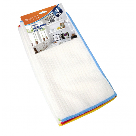 4PK MICRO CLOTH (WHITE, COL BORDER)