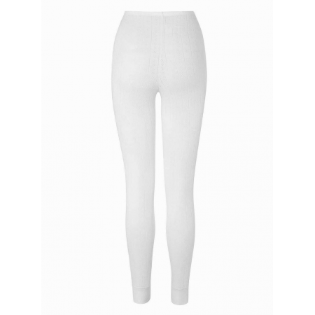 LADIES EYELET THERMAL LONG JOHNS (WHITE)