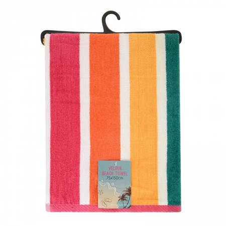 VELOUR STRIPED BEACH TOWEL 75X150CM (DESIGN 27)