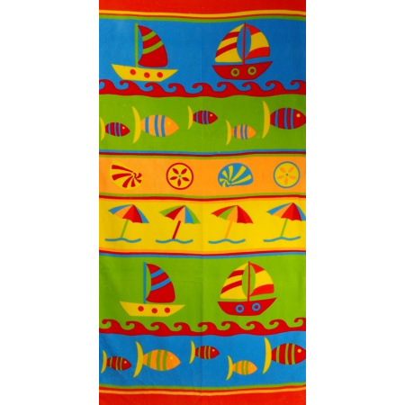 MICROFIBRE BEACH TOWELS 75X140CM (SAIL BOATS)