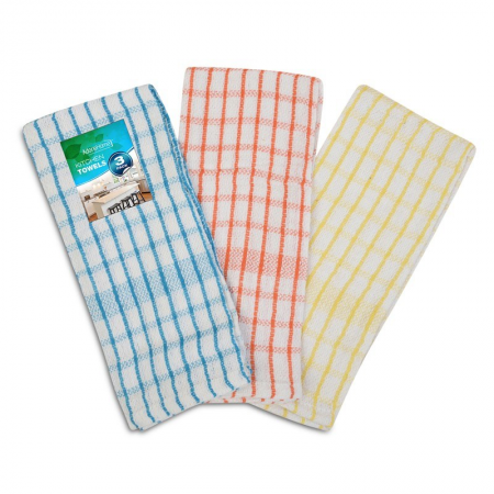 3PK MONO CHECK TEA TOWELS
