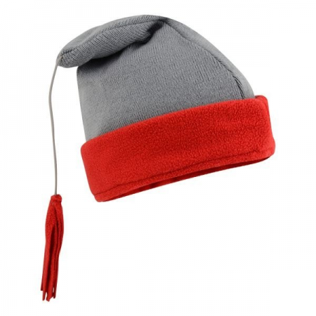 WINTER FLEECE HAT GREY & RED WITH TASSEL