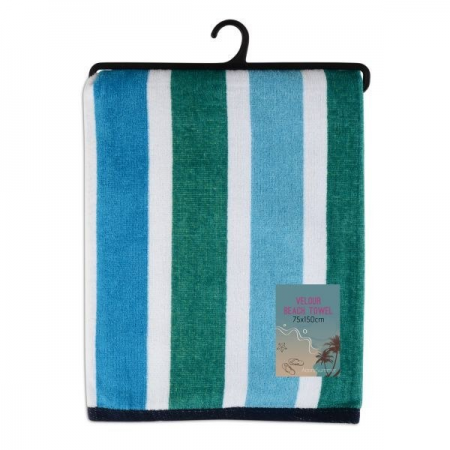 VELOUR STRIPED BEACH TOWEL 75X150CM (DESIGN 30)