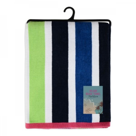 VELOUR STRIPED BEACH TOWEL 75X150CM (DESIGN 31)