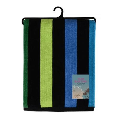 VELOUR STRIPED BEACH TOWEL 75X150CM (DESIGN 28)